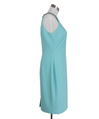 Badgley Mischka Aqua Polyester Beaded Trim Dress 1
