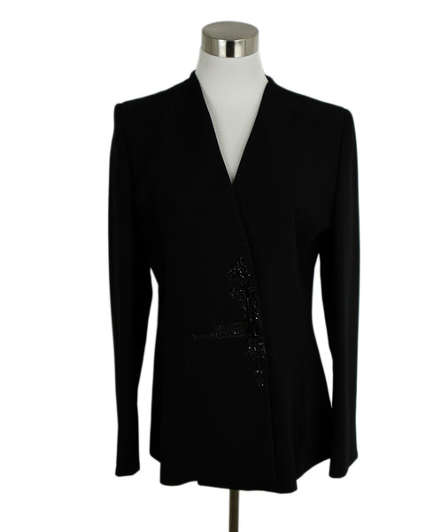Badgley Mischka Black Rayon Black Rhinestone Trim Evening Jacket 1