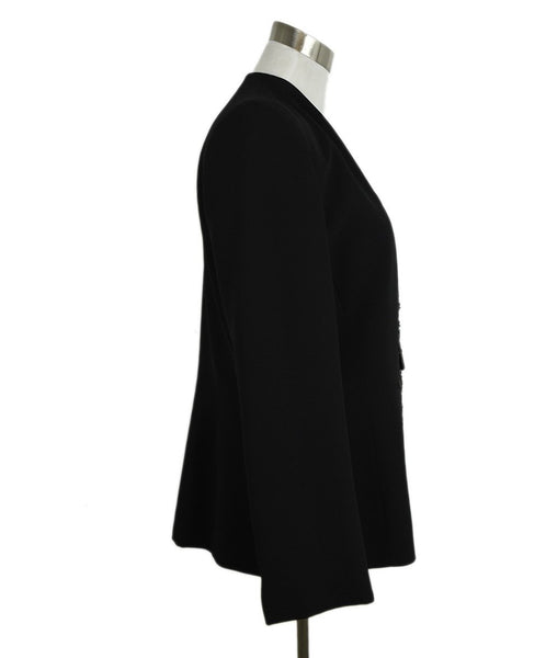 Badgley Mischka Black Rayon Black Rhinestone Trim Evening Jacket 2