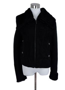Badgley Mischka Coat Size 10 Black Suede Wool Trim Fur Outerwear 1