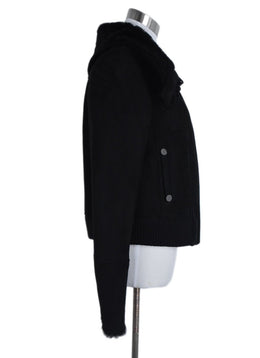 Badgley Mischka Coat Size 10 Black Suede Wool Trim Fur Outerwear 2