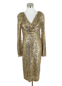 Badgley Mischka Gold Sequins Evening Dress 1