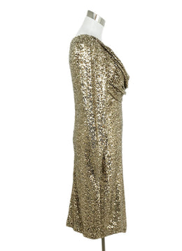 Badgley Mischka Gold Sequins Evening Dress 2
