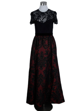 Badgley Mischka Red Black Lace Lurex Polyester Dress Evening 1