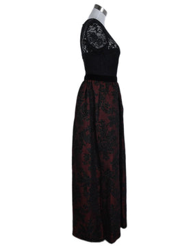 Badgley Mischka Red Black Lace Lurex Polyester Dress Evening 2