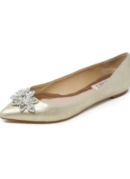 Badgley Mischka Metallic Gold Leather Flats with Rhinestone Detail 1