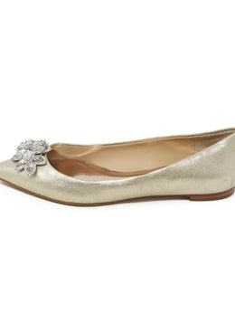 Badgley Mischka Metallic Gold Leather Flats with Rhinestone Detail 2