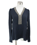 Bailey 44 Navy Beaded Polyester Blouse 1
