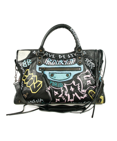Balenciaga Black Multicolor Leather Print Bag 1