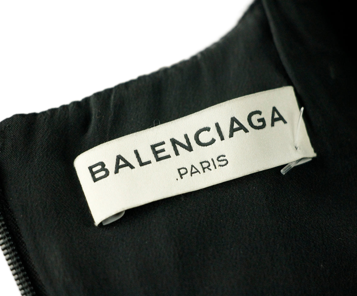 Balenciaga Black White Rayon Dress 6