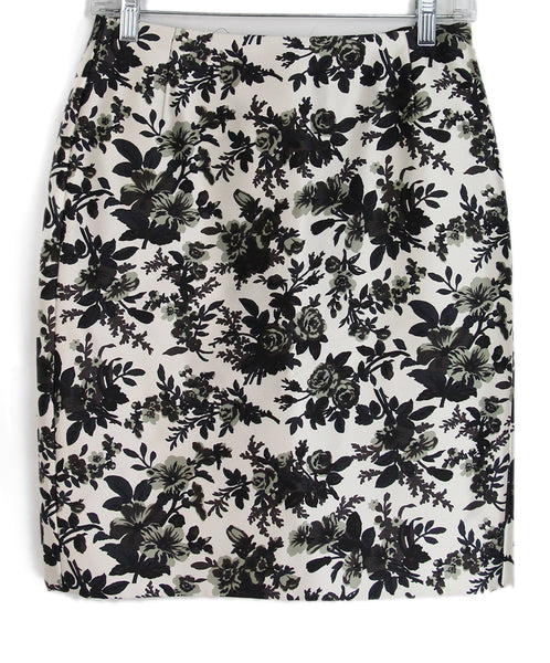 Balenciaga Black ivory Grey Floral Skirt 1