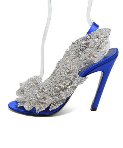 Balenciaga Blue Satin Sequin Evening Heels 1