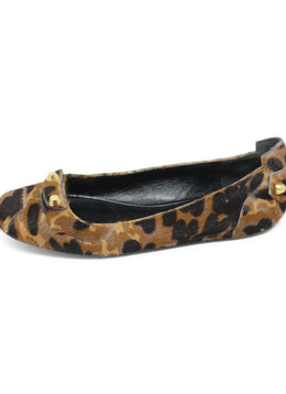 Balenciaga Brown Animal Print Pony Hair Flats sz 7