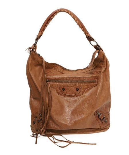 Loro Piana Brown Chocolate Pressed Leather Trim Tote Handbag