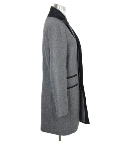 Balenciaga Charcoal Wool Black Trim Coat 1