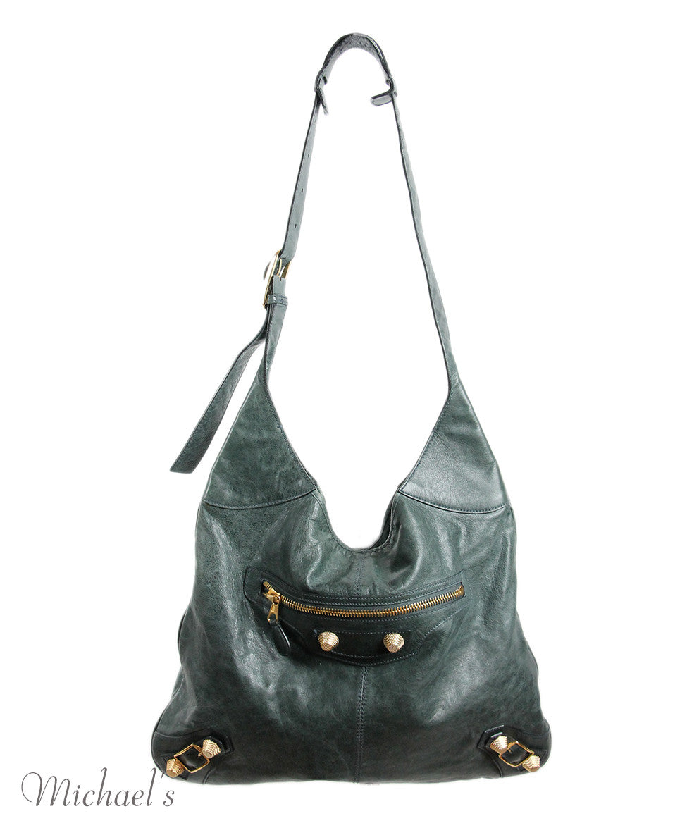 Balenciaga Green Distressed Leather Handbag - Michael's Consignment NYC  - 3