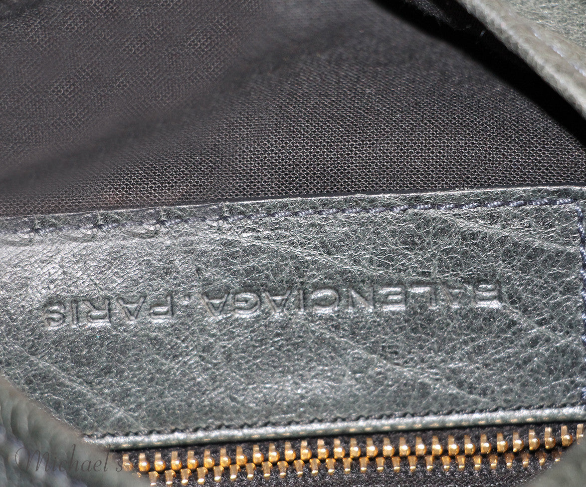 Balenciaga Green Distressed Leather Handbag - Michael's Consignment NYC  - 6