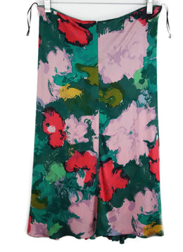 Balenciaga Green Pink Red Print Viscose Skirt 2