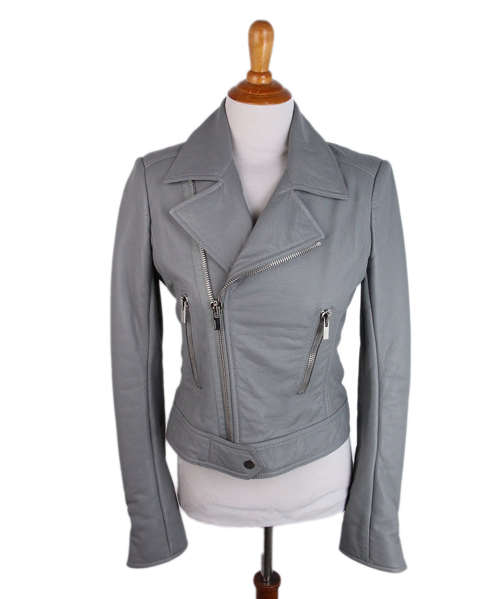 Balenciaga Grey Leather Jacket 1