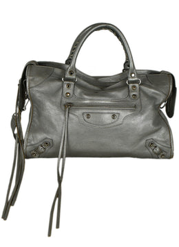 Balenciaga Metallic Silver Leather City Bag 1