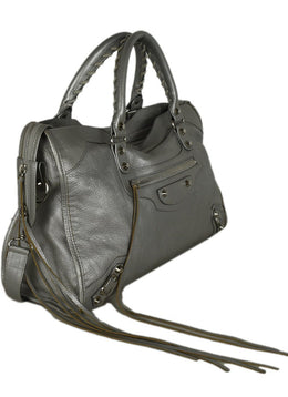 Balenciaga Metallic Silver Leather City Bag 2