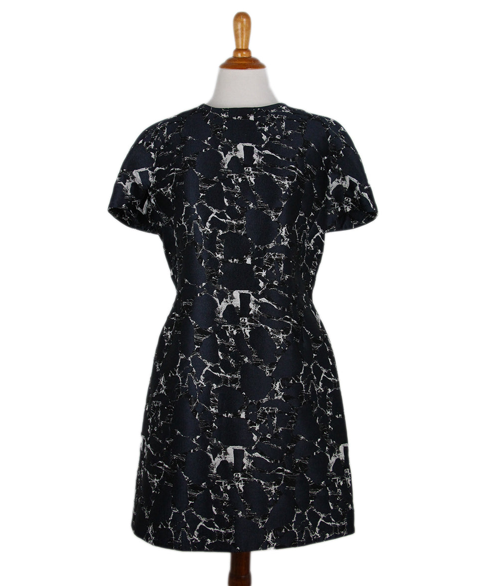Balenciaga Navy Black White Cotton Dress 1