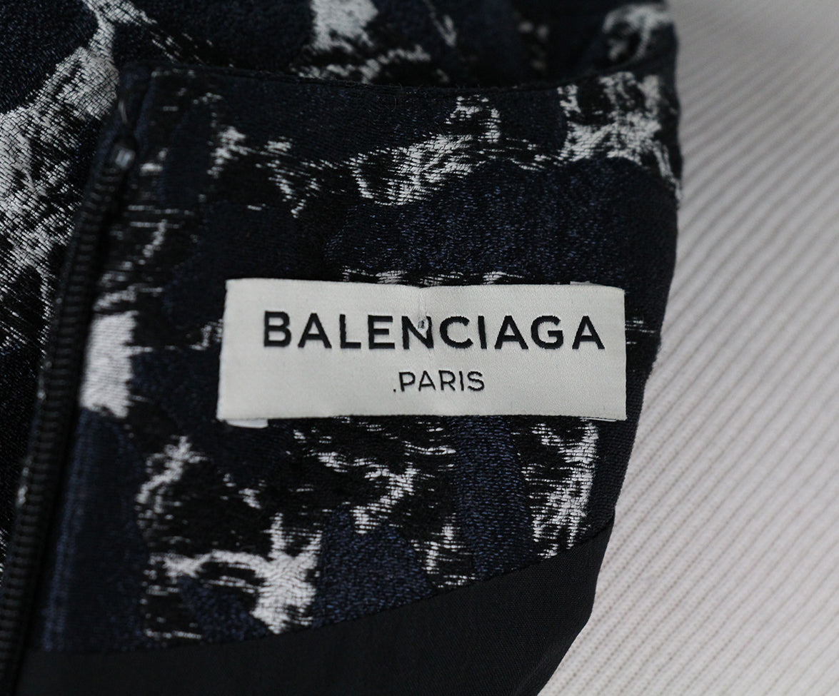 Balenciaga Navy Black White Cotton Dress 4