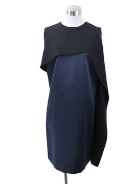 Balenciaga Navy Silk Black Wool Dress Sz 6