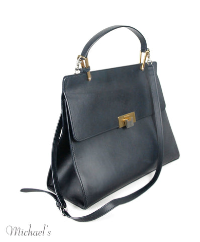 Balenciaga Navy Leather Handbag