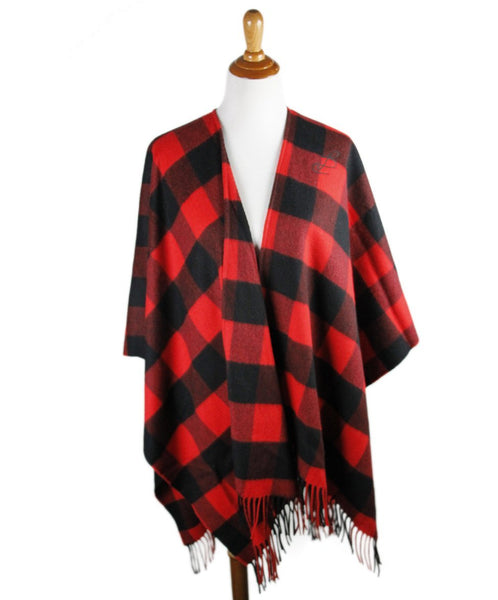 Balenciaga Red Black Plaid Wool Cashmere Shawl