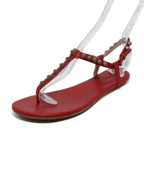 Balenciaga Red Leather Stud Sandals 1