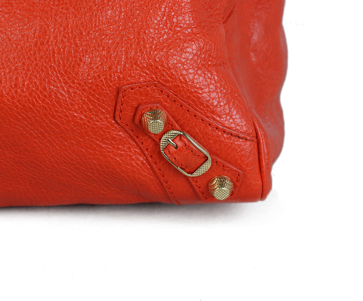 Balenciaga Red Orange Satchel 5