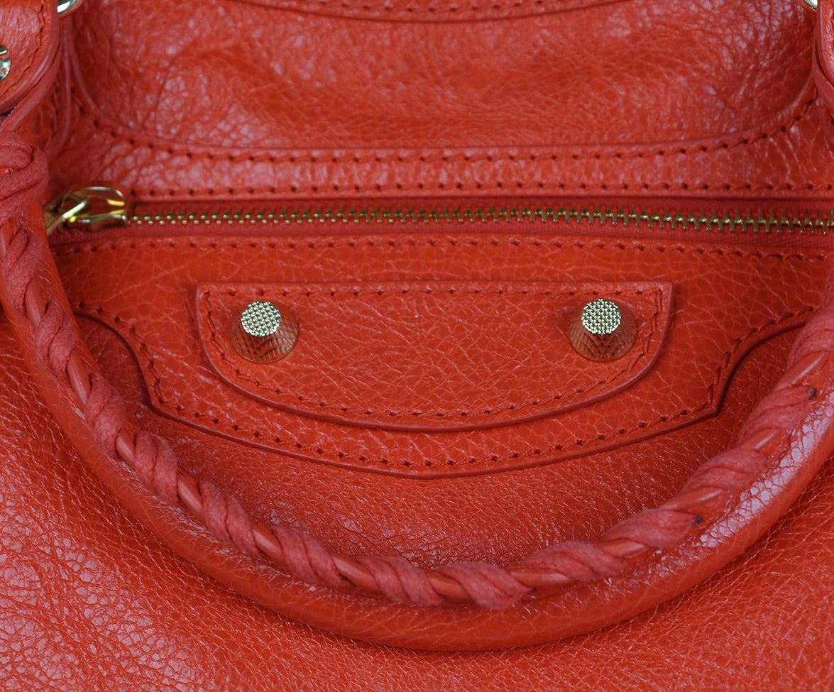 Balenciaga Red Orange Satchel 6