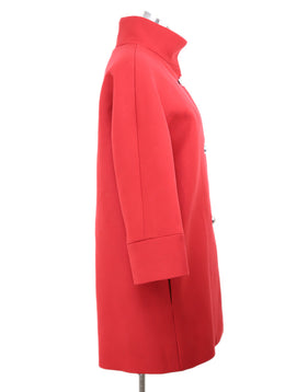 Balenciaga Red Wool Coat with Silver Buttons 2