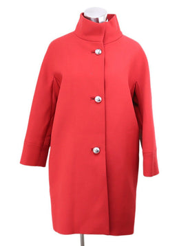 Balenciaga Red Wool Coat with Silver Buttons 1