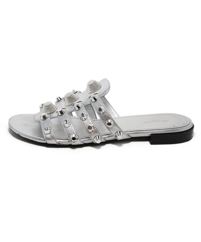 Balenciaga Silver Leather Sandals 1