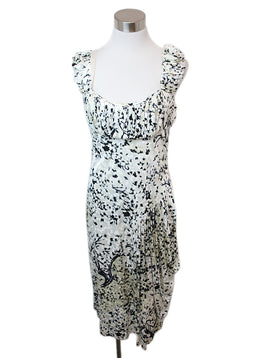 Balenciaga Cream Black Print Viscose Dress 1