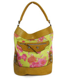 Balenciaga Yellow and Pink Floral Print Brown Leather Shoulder Bag 1