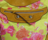 Balenciaga Yellow and Pink Floral Print Brown Leather Shoulder Bag 8