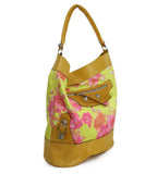 Balenciaga Yellow and Pink Floral Print Brown Leather Shoulder Bag 2