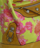 Balenciaga Yellow and Pink Floral Print Brown Leather Shoulder Bag 11