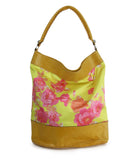 Balenciaga Yellow and Pink Floral Print Brown Leather Shoulder Bag 3