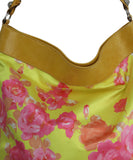 Balenciaga Yellow and Pink Floral Print Brown Leather Shoulder Bag 9