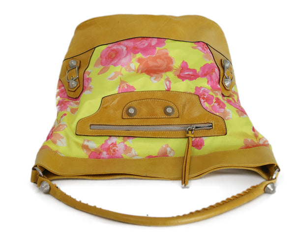Balenciaga Yellow and Pink Floral Print Brown Leather Shoulder Bag 5