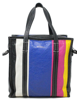 Balenciaga Black Blue White Pink Yellow Leather Handbag