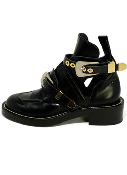 Balenciaga US 11 Black Leather Buckle Booties 2