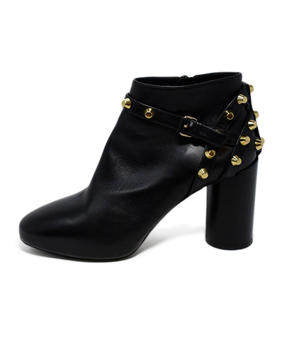 Balenciaga Black Leather Gold Studs Booties 1