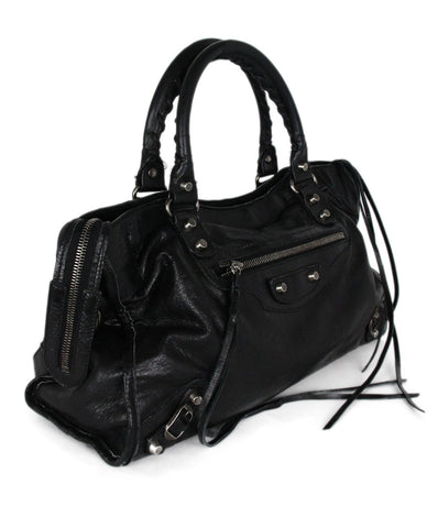 Balenciaga Black Leather Satchel Handbag 1