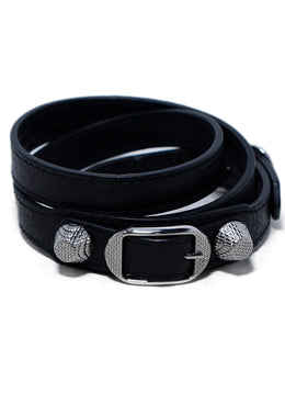 Balenciaga Black Leather Silver Hardware Buckle Wrap Bracelet 2