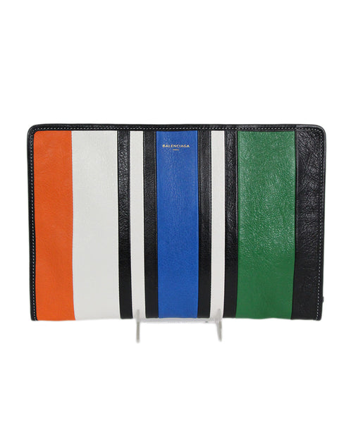 Balenciaga Black Orange Green Blue Leather Clutch Handbag 1